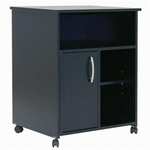 South Shore Furniture Axess Microwave Cart with Storage on Wheels - Black