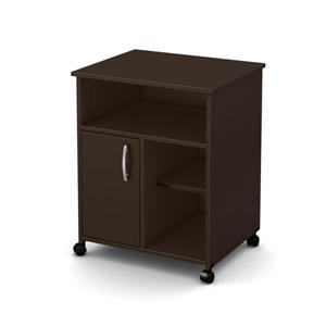 South Shore Furniture Axess Microwave Cart with Storage on Wheels - Chocolate