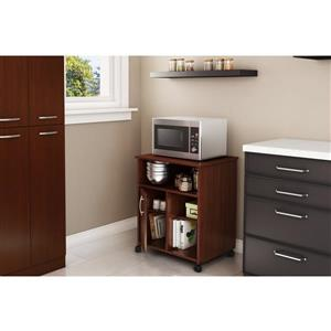 South Shore Furniture Axess Microwave Cart with Storage on Wheels - Royal Cherry