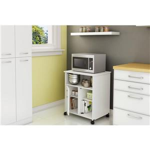 South Shore Furniture Axess Microwave Cart with Storage on Wheels - White