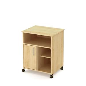 South Shore Furniture Axess Microwave Cart with Storage on Wheels - Natural Maple