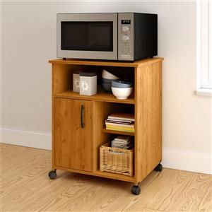 South Shore Furniture Axess Microwave Cart with Storage on Wheels - Country Pine