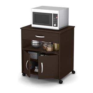 South Shore Furniture Axess Microwave Cart on Wheels - Chocolate