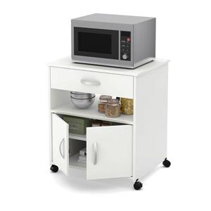 South Shore Furniture Axess Microwave Cart on Wheels - White