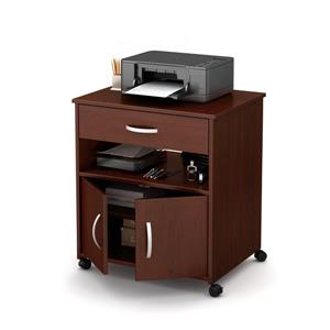 South Shore Furniture Axess Printer Cart on Wheels - Royal Cherry