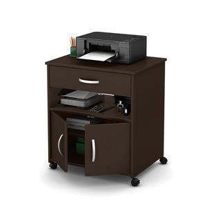 South Shore Furniture Axess Printer Cart on Wheels - Chocolate