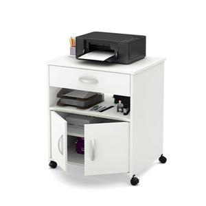 South Shore Furniture Axess Printer Cart on Wheels - 26.75-in x 19-in x 29.25-in - White