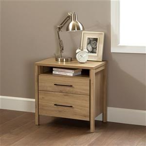 South Shore Furniture Gravity 2-Drawer Nightstand - Rustic Oak