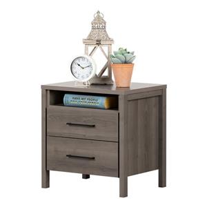 South Shore Furniture Gravity 2-Drawer Nightstand - Gray Maple