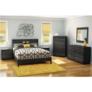 South Shore Furniture Tao 2-Drawer Nightstand - 23.75-in x 17-in x 22.5-in - Gray Oak
