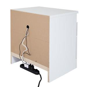 South Shore Furniture Reevo Nightstand with Cord Catcher - White