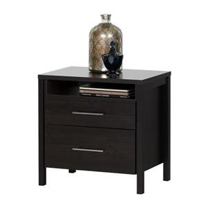 South Shore Furniture Gravity 2-Drawer Nightstand - 21.75-in x 17-in x 22.63-in - Ebony