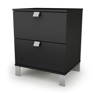 South Shore Furniture Spark 2-Drawer Nightstand - 19.5-in x 17-in x 23-in - Black