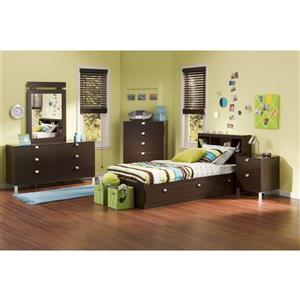 South Shore Furniture Spark 2-Drawer Nightstand - 19.5-in x 17-in x 23-in - Chocolate
