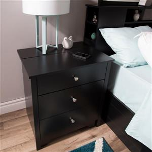 South Shore Furniture Vito Nightstand Charging Station - Black