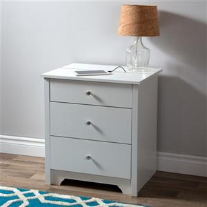 South Shore Furniture Vito Nightstand Charging Station - White