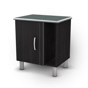 South Shore Furniture Cosmos Nightstand with Storage - Black Onyx and Charcoal