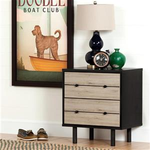 South Shore Furniture Morice 2-Drawer Nightstand -  Ebony and Rustic Oak