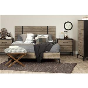 South Shore Furniture Valet 2-Drawer Nightstand - Weathered Oak and Ebony