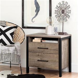South Shore Furniture Munich 2-Drawer Nightstand - Weathered Oak and Matte Black