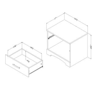 South Shore Furniture Gramercy 1-Drawer Nightstand - Black