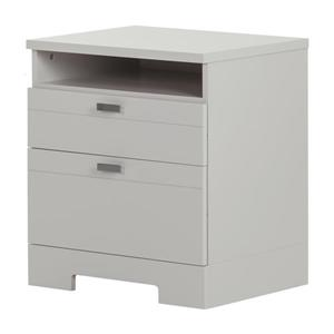 South Shore Furniture Reevo Nightstand with Cord Catcher - Soft Gray