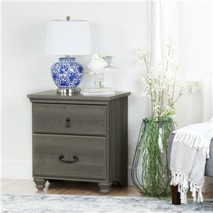 South Shore Furniture Noble 2-Drawer Nightstand - Gray Maple