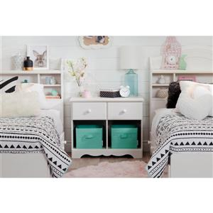 South Shore Furniture Summer Breeze 2-Drawer Double Nightstand - White Wash