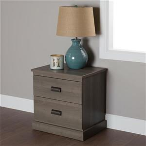South Shore Furniture Gloria 2-Drawer Nightstand - Gray Maple
