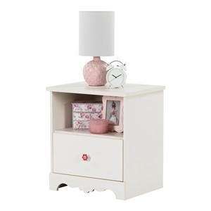 South Shore Furniture Lily Rose 1-Drawer Nightstand - White Wash