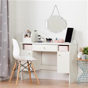 South Shore Furniture Vito Makeup Desk with Drawer - 41.75-in x 15.25-in x 38-in - White