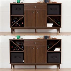 South Shore Furniture Olly Sideboard Storage Cabinet - Brown Walnut