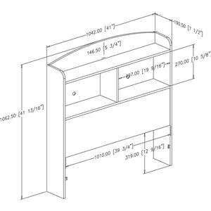 South Shore Furniture Logik Bookcase Headboard - Twin - Chocolate