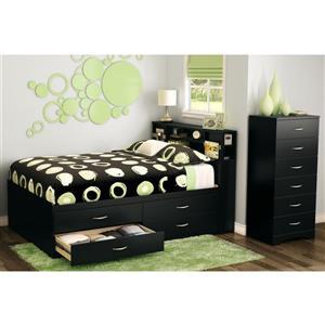 South Shore Furniture Step One Bookcase Headboard - Full - Black