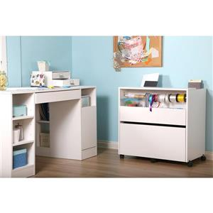 South Shore Furniture Crea Craft Table - 53.5-in x 23.6-in x 30-in - White