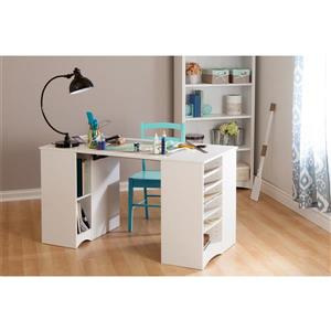 South Shore Furniture Artwork Craft Table with Storage - 53.32-in x 23.6-in x 30-in - White