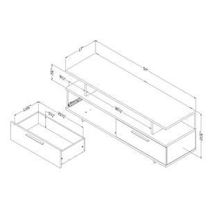 South Shore Furniture Reflekt TV Stand - 57-in x 17-in x 21.75-in - Gray