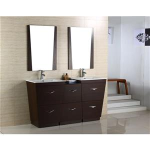 "American Imaginations Vee Vanity Set  - Double Sink - 61.5"" - Brown"