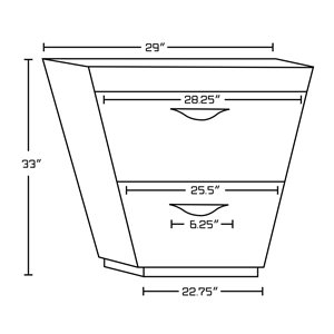 "American Imaginations Vee Vanity Set  - Double Sink - 59"" - Brown"