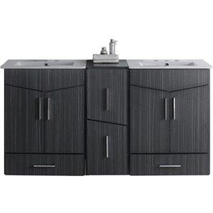 """American Imaginations Zen Vanity Set  - Double Sink - 61.5"""" - Gray"""