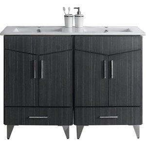 """American Imaginations Zen Vanity Set  - Double Sink - 48"""" - Gray"""