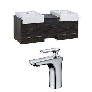 "American Imaginations Xena Farmhouse Vanity Set  - Double Sink - 59.5"" - Gray"