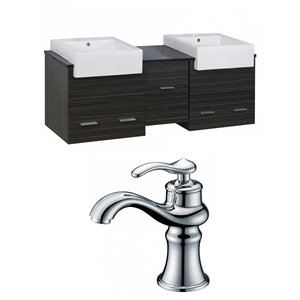 "American Imaginations Xena Farmhouse Vanity Set  - Double Sink - 59.5"" - Gray"