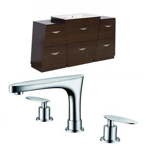 "American Imaginations Vee Vanity Set  - Single Sink - 56"" - Brown"