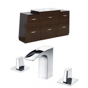 """American Imaginations Vee Vanity Set  - Single Sink - 53"""" - Brown"""
