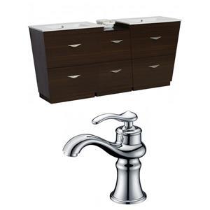 "American Imaginations Vee Vanity Set  - Double Sink - 74"" - Brown"