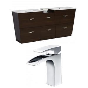 "American Imaginations Vee Vanity Set  - Double Sink - 56"" - Brown"