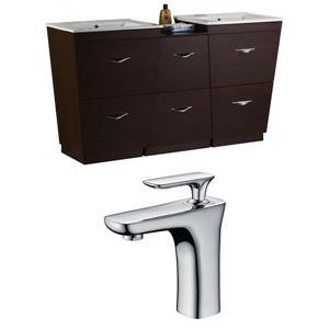 "American Imaginations Vee Vanity Set  - Double Sink - 61.5"" - Brown"