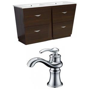 "American Imaginations Vee Vanity Set  - Double Sink - 48"" - Brown"