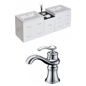 "American Imaginations Xena Vanity Set  - Double Sink - 61.5"" - White"
